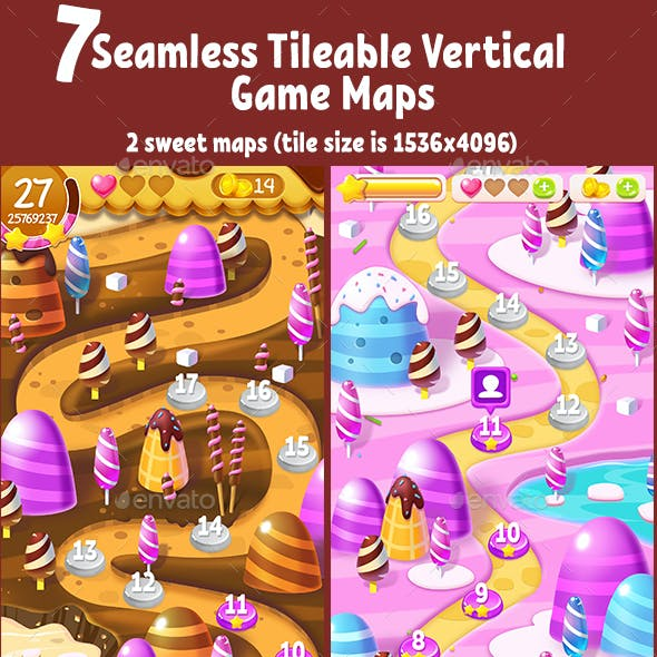 7 Seamless Tileable Vertical Game Maps Bundle