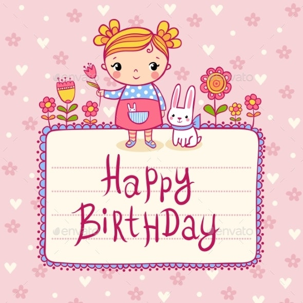 Happy Birthday Greeting Card. - Flowers & Plants Nature