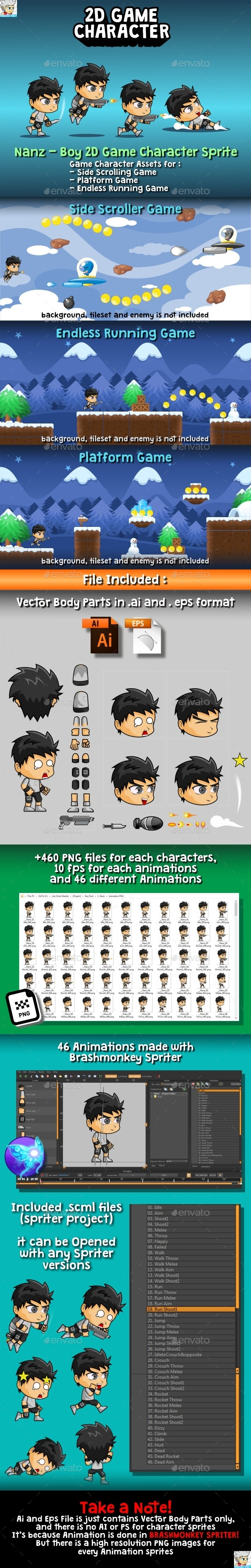 Nanz - 2D Game Character Sprite - Sprites Game Assets