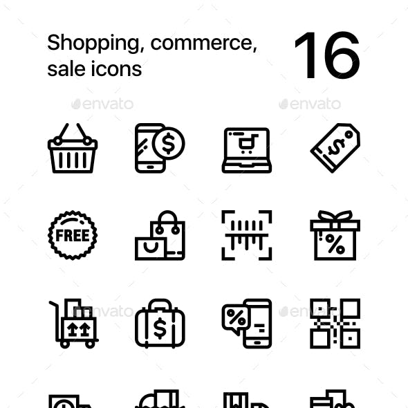 Shopping, Commerce, Sale Icons for Web and Mobile Design Pack 2
