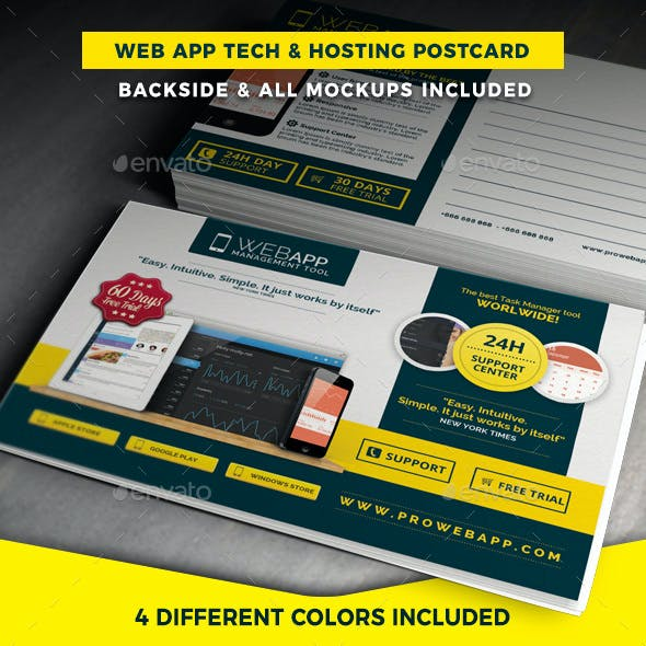 Web App Tech and Hosting Postcard Template