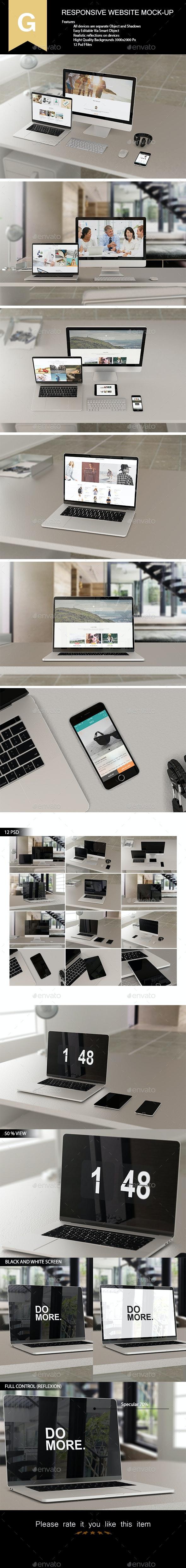 Responsive Website Mock-Up - Product Mock-Ups Graphics