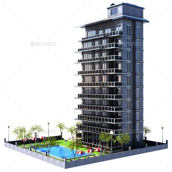 Cartoon Building Apartments