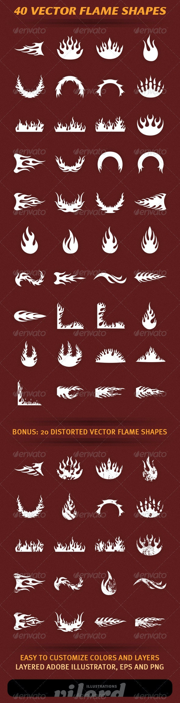 40 Vector Flame Shapes 2 - Decorative Vectors