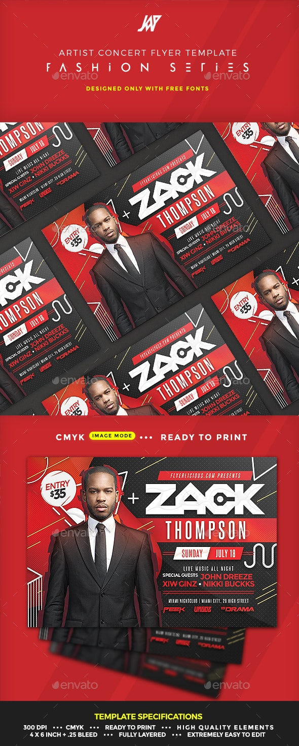 Artist Concert Event or Party Flyer - Clubs & Parties Events