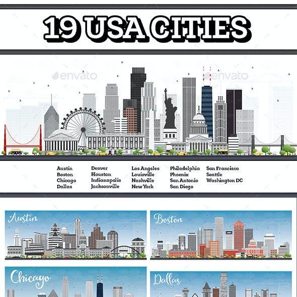 19 USA Cities Set