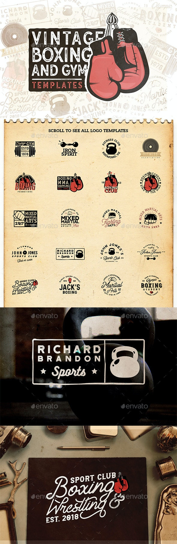 20 Vintage Boxing & Gym Badges - Badges & Stickers Web Elements
