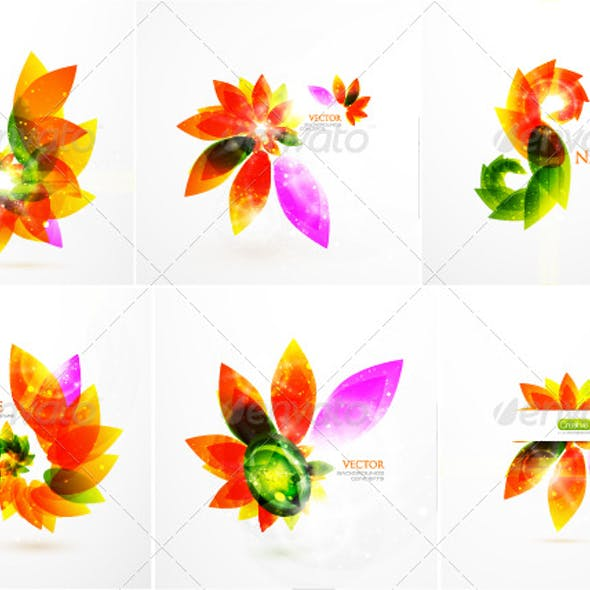 Colorful floral background pack