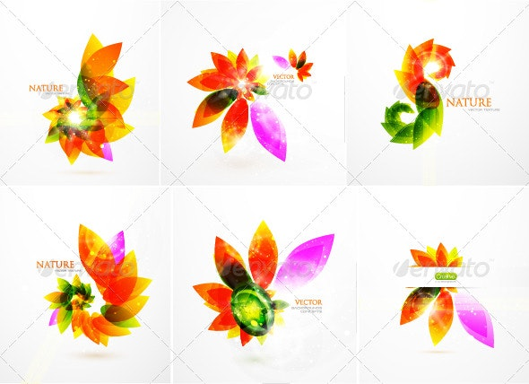 Colorful floral background pack - Flowers & Plants Nature