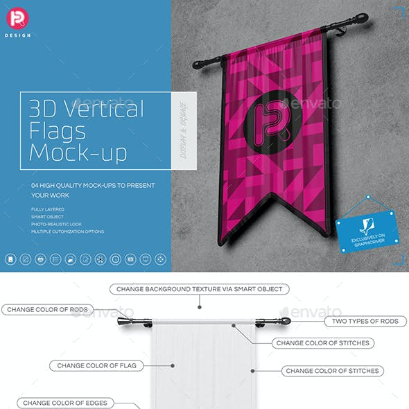 3D Vertical Flags Mock-Up (set 3)