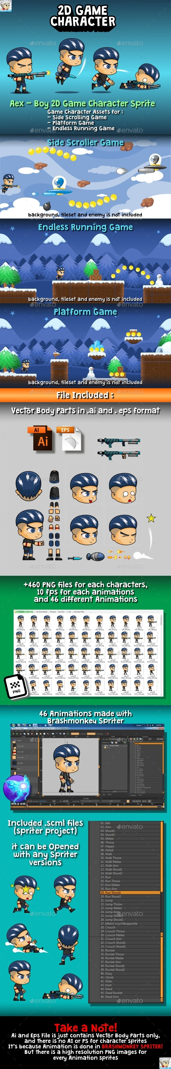 Aex - Boy 2D Game Character Sprite - Sprites Game Assets