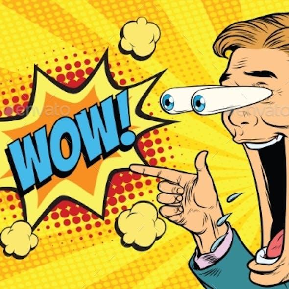 Hyper Expressive Reaction Cartoon Wow Man Face