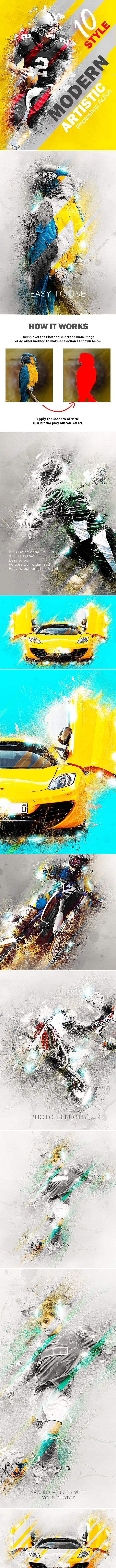 Modern Artistic Photoshop Action - Photo Effects Actions