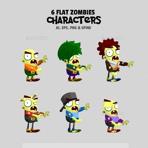 6 Flat Zombies