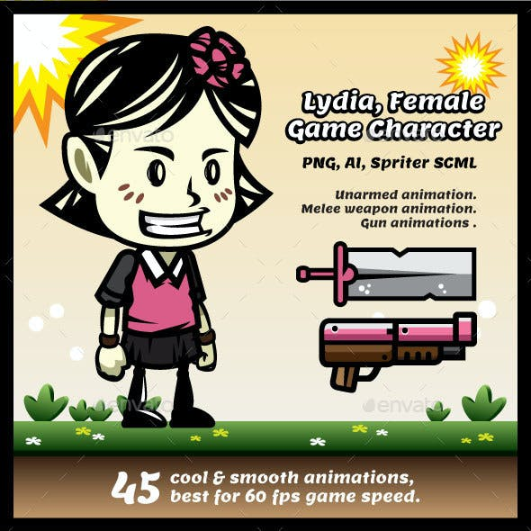 Lydia Female Game Character Sprites