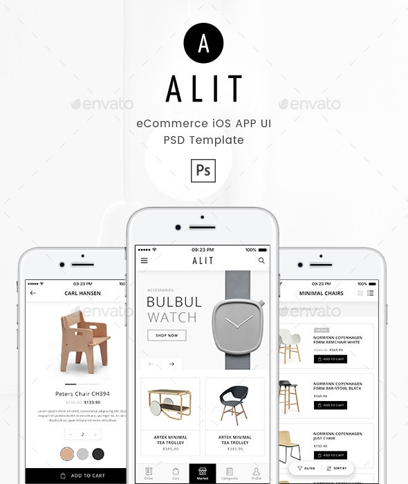 Alit - Minimalist eCommerce PSD UI for iOS App - User Interfaces Web Elements