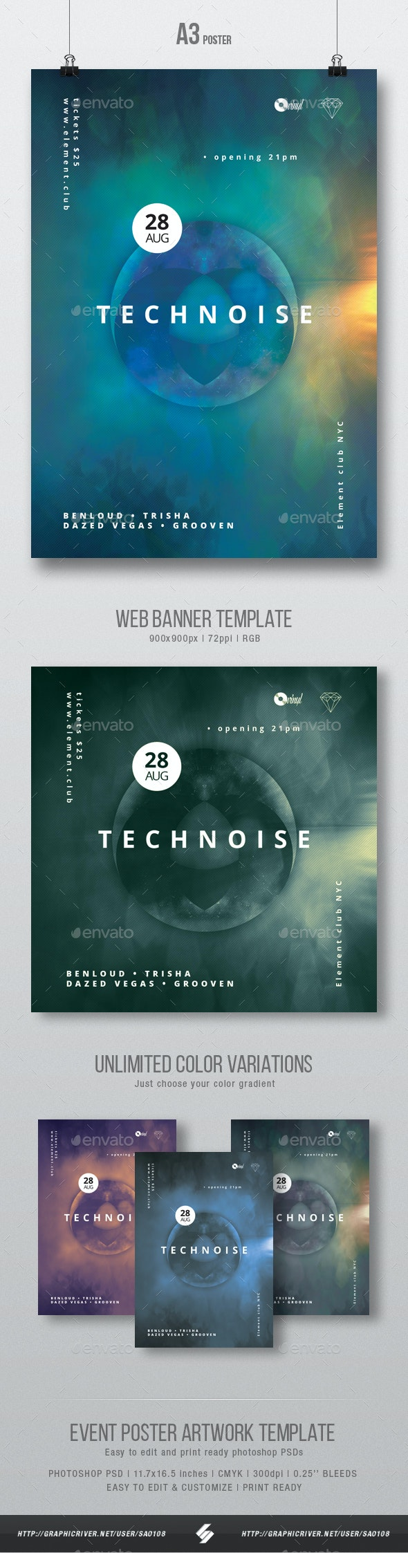 Technoise vol.2 - Minimal Party Flyer / Poster Artwork Template A3 - Clubs & Parties Events