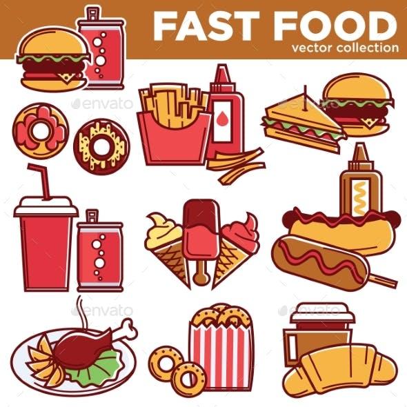 Fast Food Menu Meals Burgers, Sandwiches, Desserts