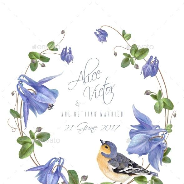 Blue Flower Bird Wreath