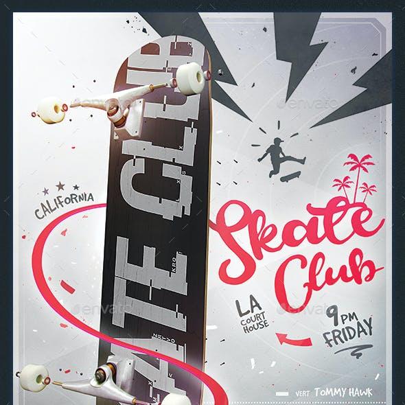 Skate Club Flyer - Skateboard Mockup Poster Template