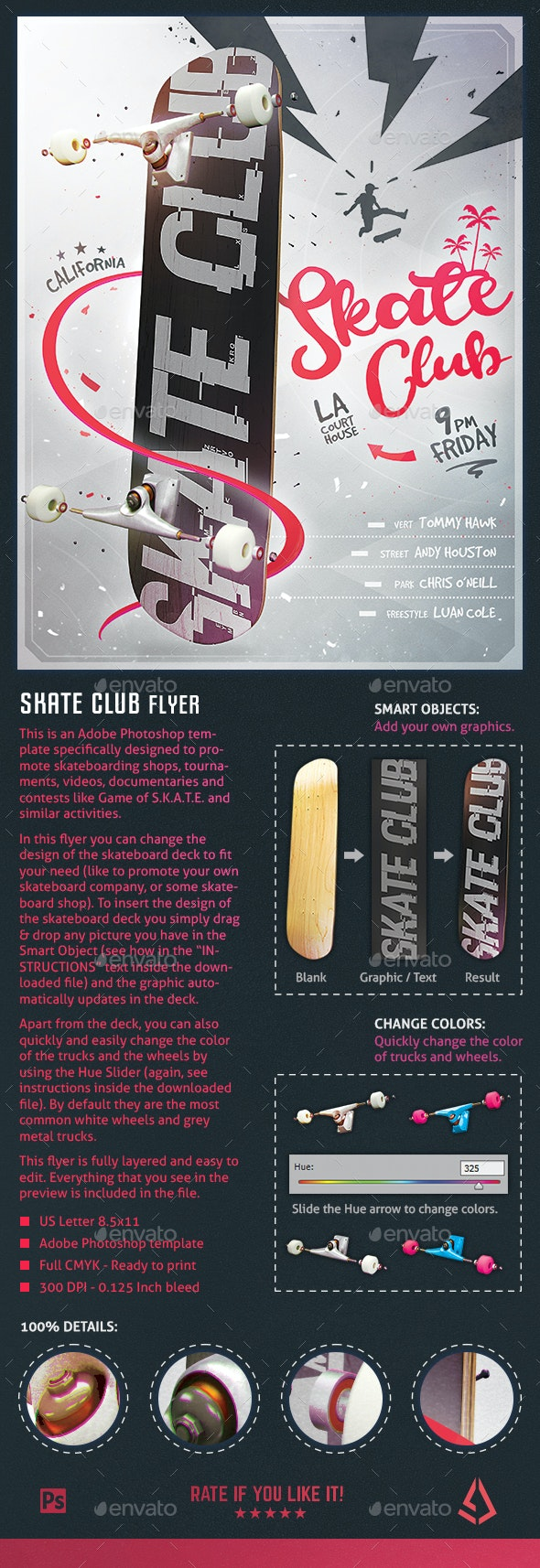 Skate Club Flyer - Skateboard Mockup Poster Template - Sports Events