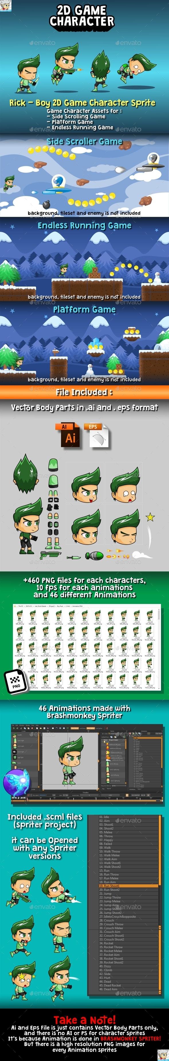 Rick - Boy 2D Game Character Sprite - Sprites Game Assets