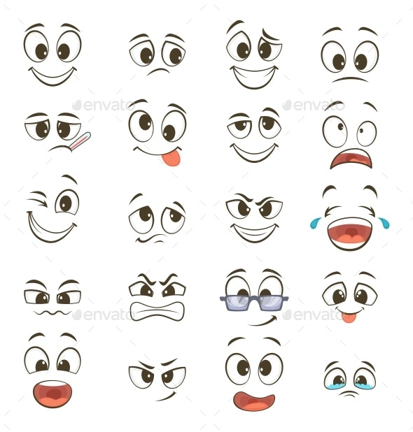 Cartoon Faces with Different Expressions - Miscellaneous Characters