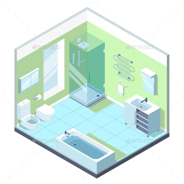 Bathroom Interior with Different Furniture
