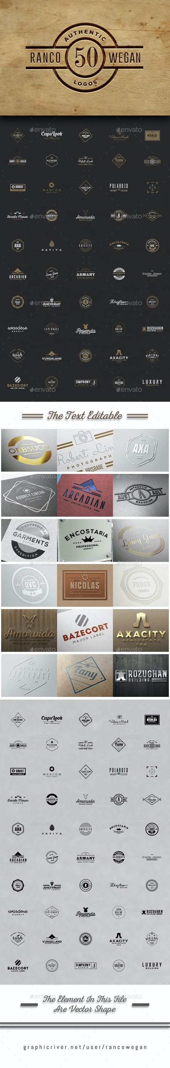 50 Authentic Logo - Badges & Stickers Web Elements