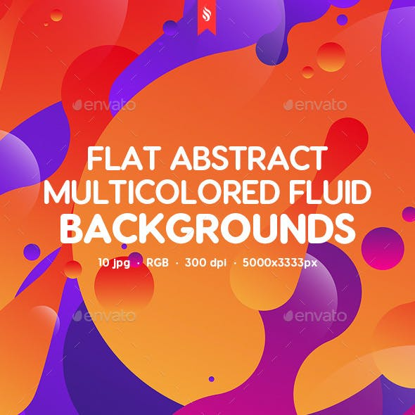Abstract Flat Multicolored Fluid Backgrounds