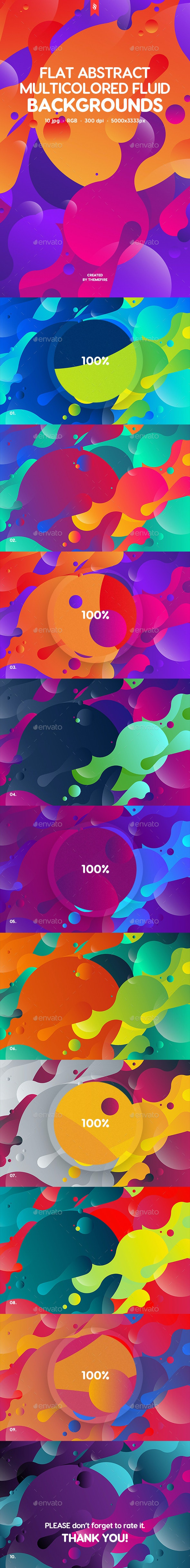 Abstract Flat Multicolored Fluid Backgrounds - Abstract Backgrounds