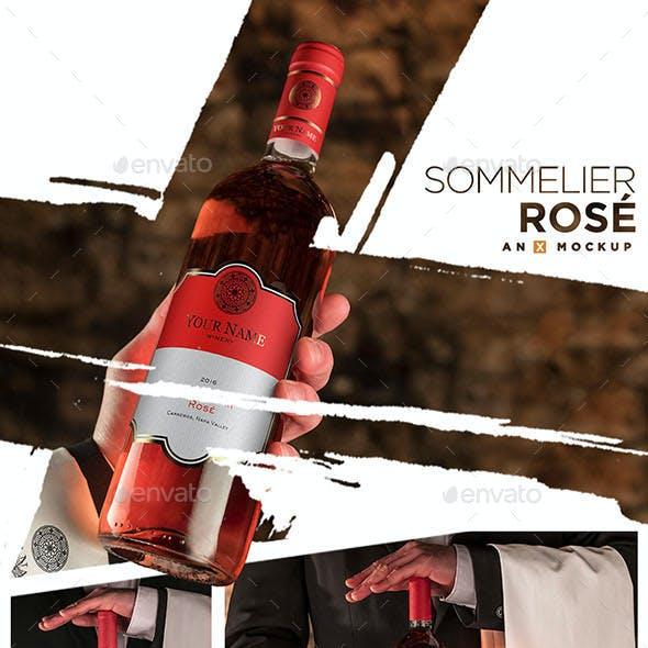 Sommelier Wine Mockup - Bordeaux Rosé