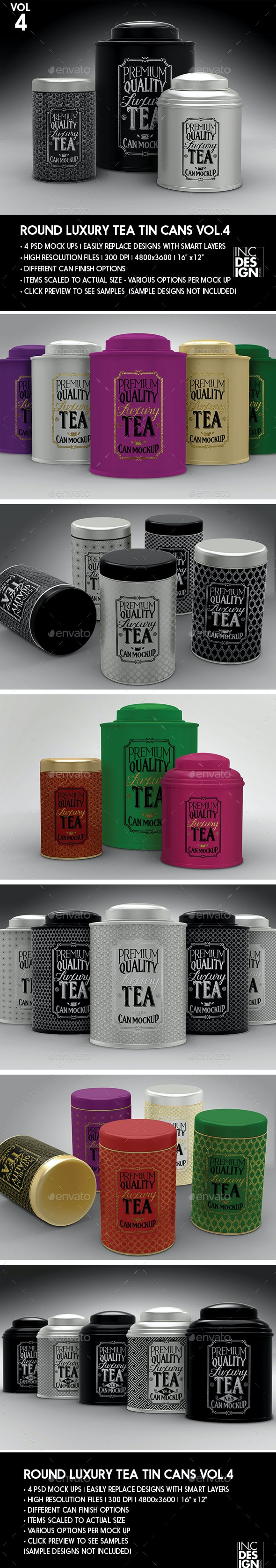 Round Luxury Tea Tin Cans Packaging Mock Ups - Food and Drink Packaging
