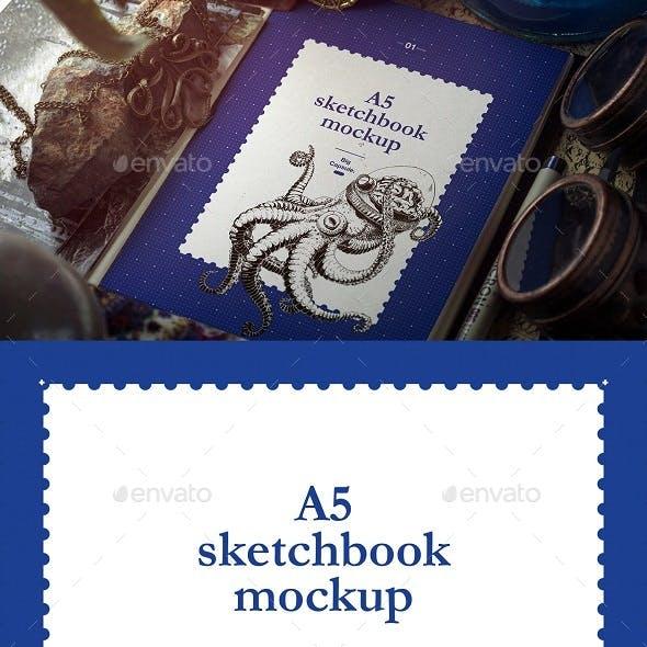 A5 Sketchbook Vintage MOCKUP