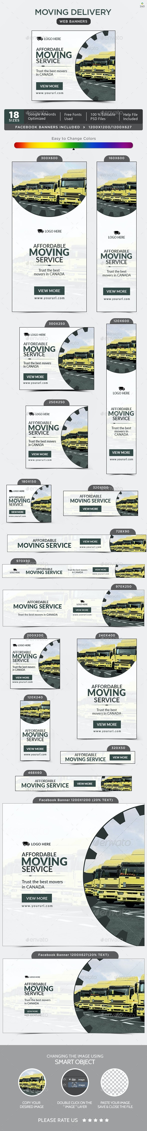 Moving Delivery Banners - Banners & Ads Web Elements