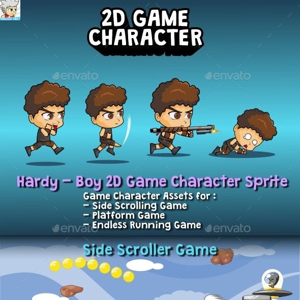 Hardy - Boy 2D Game Character Sprite