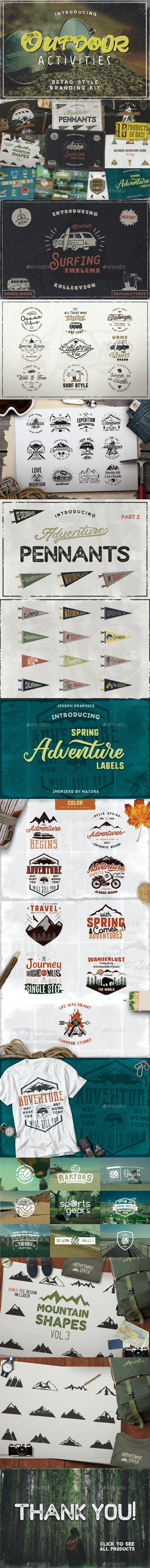 Outdoor Activities Branding Kit - Badges & Stickers Web Elements