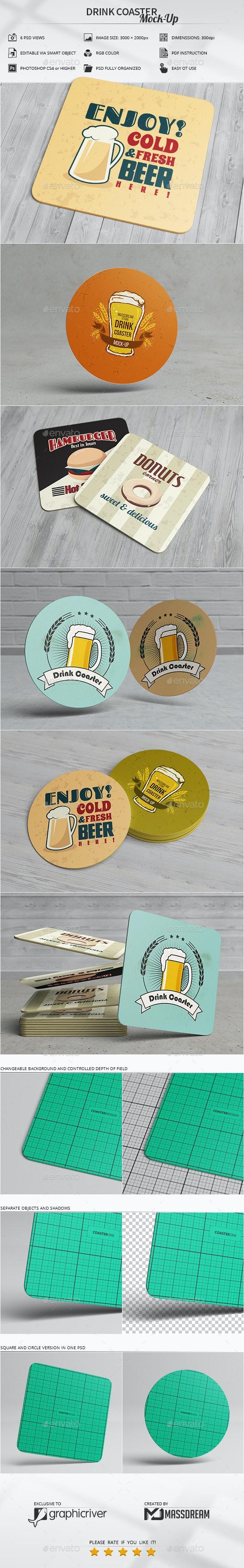 Drink Coaster Mock-Up - Product Mock-Ups Graphics