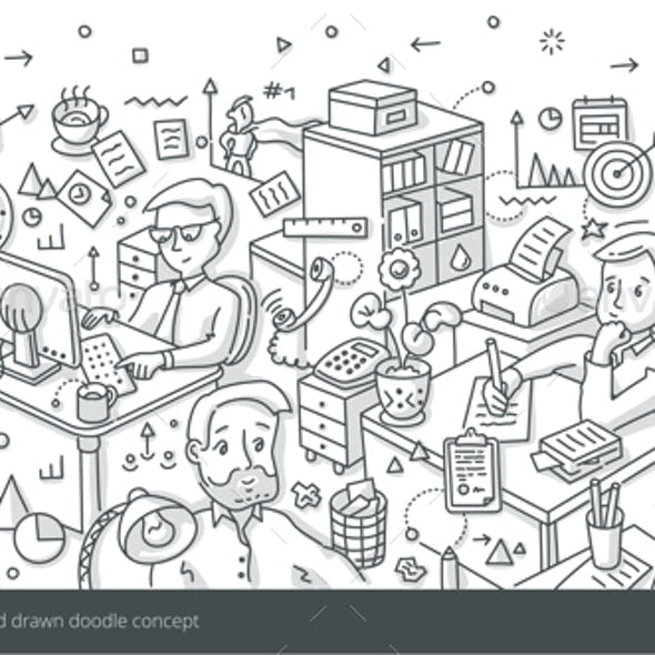 Office Work Isometric Doodle Concept