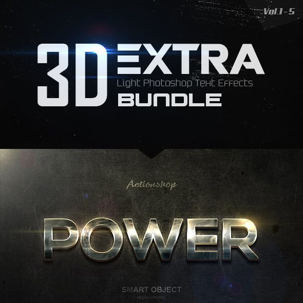 New 3D Extra Light Text Effects Bundle