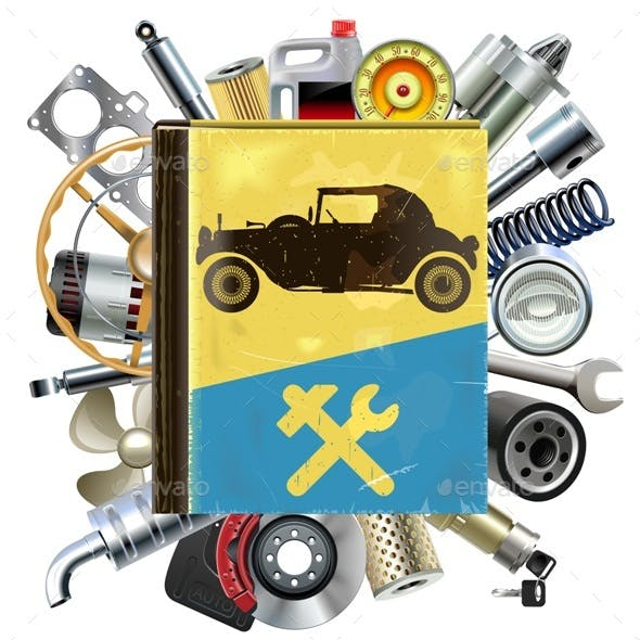 Vector Old Automobile Repair Book with Car Spares