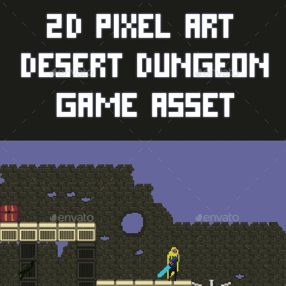 2D Pixel Art Desert Dungeon Game Asset