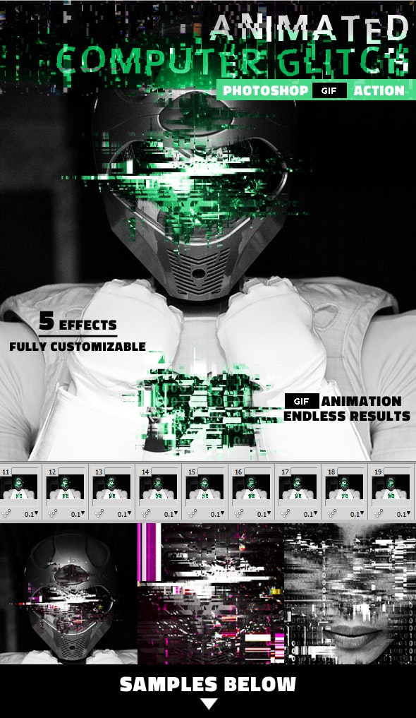 Glitch Animated GIF Computer Error Photoshop Action