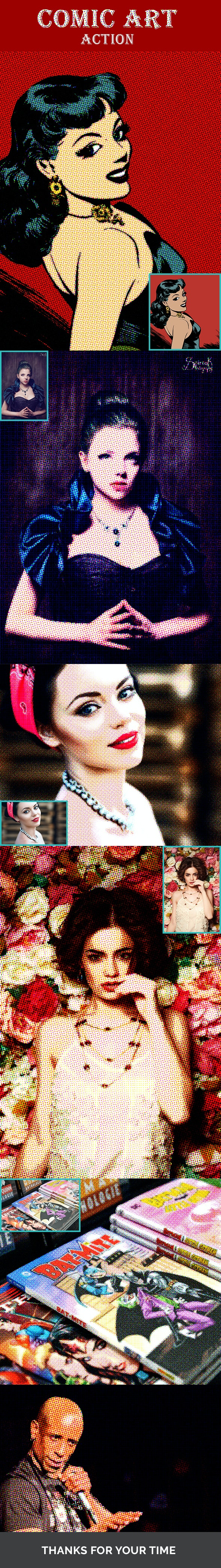 Comic Book Photo Filter - Photoshop Action - Photo Effects Actions