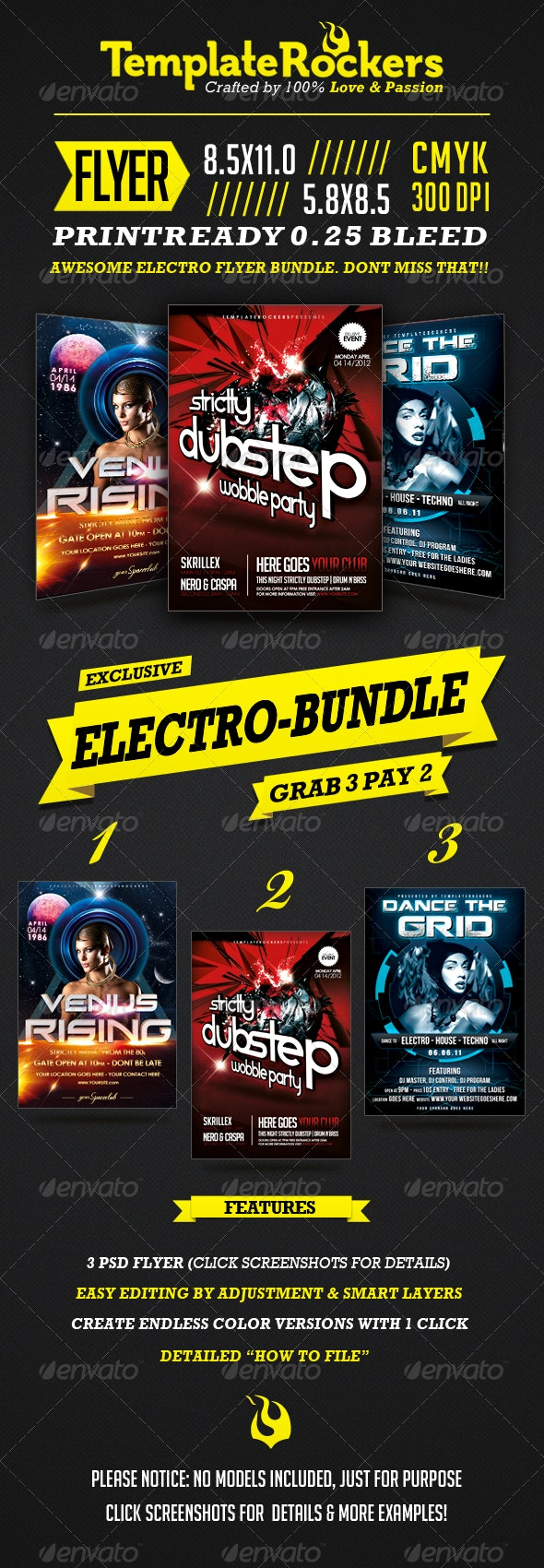 Electro Bundle   3 Party Flyer - Flyers Print Templates