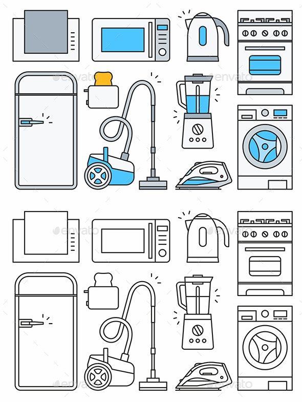 Home Appliance Icons - Man-made Objects Objects