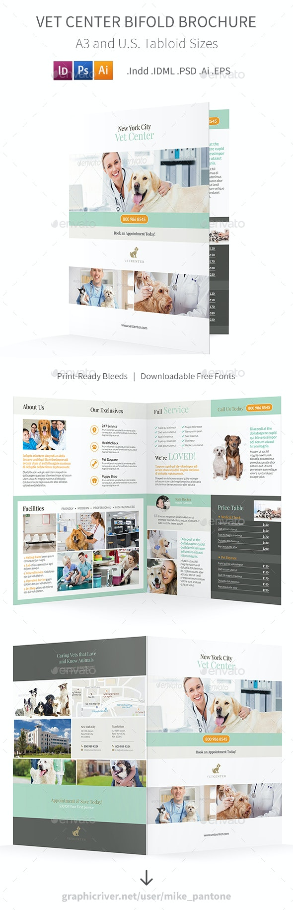 Vet Center Bifold / Halffold Brochure - Informational Brochures