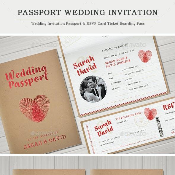 Vintage Passport Wedding Invitation