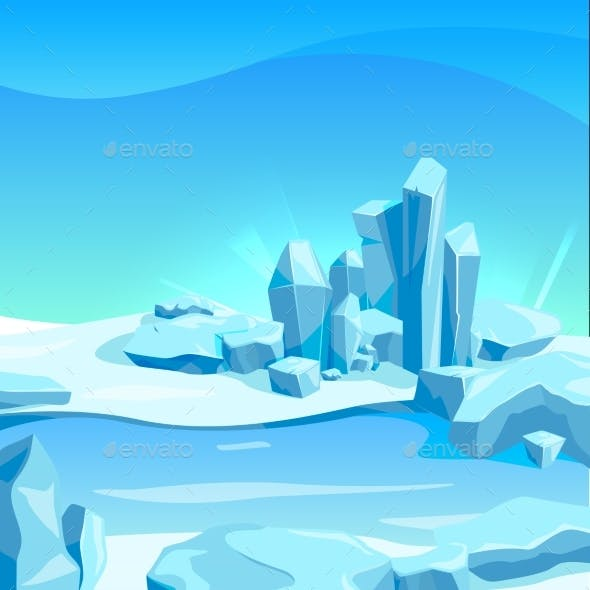 Frozen Landscape with Ice Rocks. Cartoon