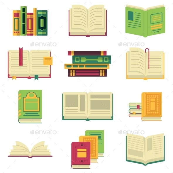Opened and Closed Different Books and Magazines - Objects Vectors